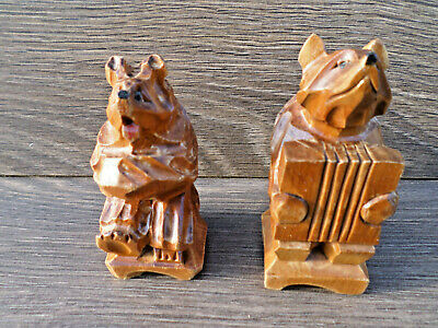 1960s PAIR SOVIET RUSSIAN FOLK ART  CARVED WOOD MUSICAL BEARS