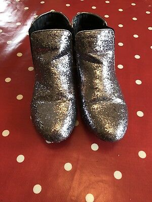 Lovely Girls Silver Sparkly Ankle Boots Size 4