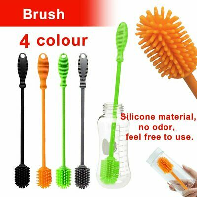 Silicone Water Bottle Cleaning Brush Feeder Washing Cleaner w/ Long Handle QV