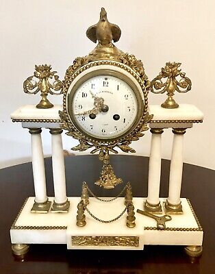 Antique French Portico Mantel Clock In White Marble And Ormolu/Gild Metal
