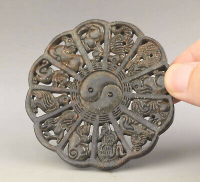 Old Chinese natural jade hand-carved zodiac pendant