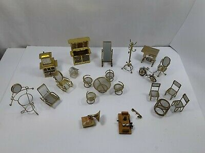 Lot of Vintage Brass Dollhouse Furniture Bike Clock Coat Hanger Tables Chairs