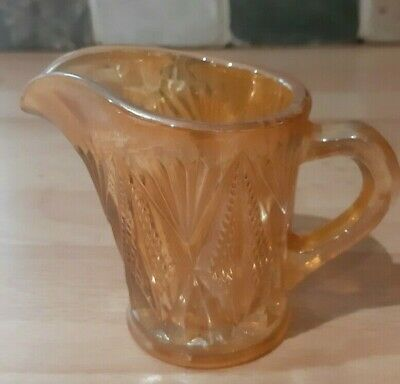 Imperial Marigold Canrival Glass Small Cream Jug pretty pattern 8 cm  tall
