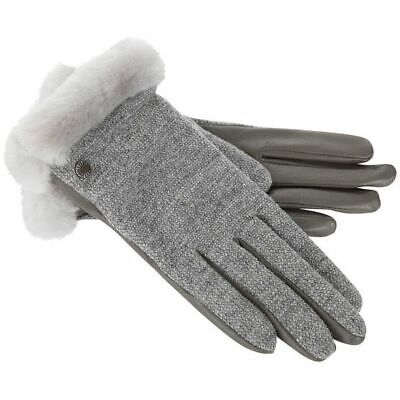 🌺NWT🌺 Ugg Shorty Smart Gloves Shearling & Leather Tech Friendly Lt Gray Sz M