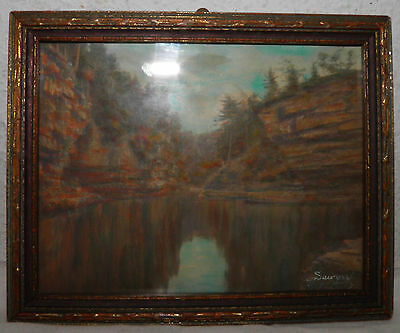 "Vintage Wallace Nutting Style Framed Miniature Art 5.2""x6.5"" Signed SAWYER BIN"