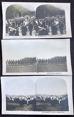 Stereoview Stereo Photo Manchuria Russo-Japanese War Troops Set 3 Pcs