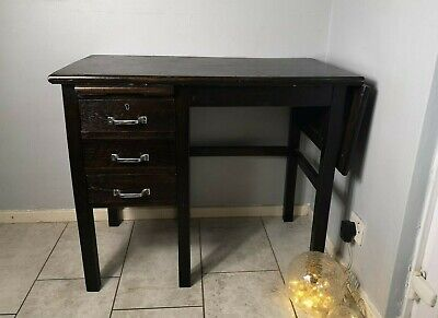 Vintage Retro 1950s Mid Century Black Wood Desk Office Single Pedestal Drop Side