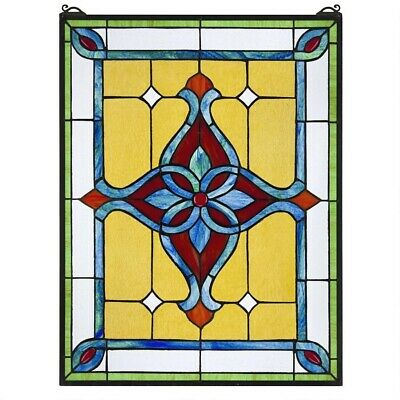"25"" Victorian Style Royal Katherine Stained Glass Window Panel"