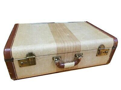 Vintage 1930s Striped Tweed and Leather Trim Luggage Suitcase