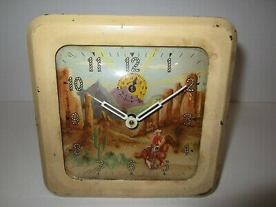 Antique E. Ingraham Animated Time/Alarm Clock Metal