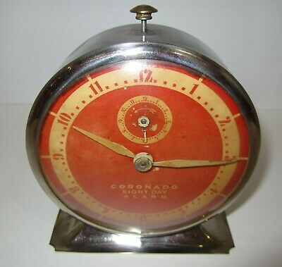 "Antique E. Ingraham ""Coronado"" 8-Day Time/Alarm Clock"
