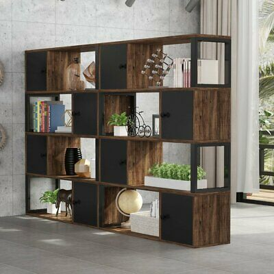 Tribesigns Industrial Wood Bookcase with 4 Storage Shelves and 4 Closed Cabinets