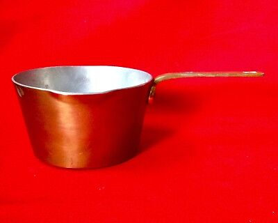 Antique Arts & Crafts Era Small Copper Saucepan With A Brass Handle, Riveted.