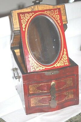 Vintage Chinese wood painted jewelry box with mirror and 3 drawer