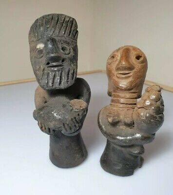An Unusual Male & Female Pair Of Clay/Terracotta Votive Figures. Indus Valley.