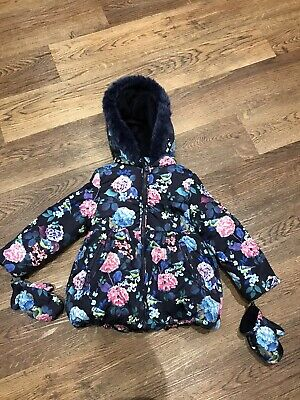 Girls Marks And Spencer Age 2-3 Years Navy Blue Floral Coat With Mittens