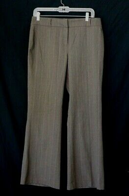 New York & Company Women's Size 8 petite Dress Pants Mid Rise Pinstripe Gray