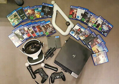 Sony PlayStation 4 Pro + VR Brille + VR Aim + Move Controller + 26VR Spiele +...