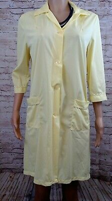 Vintage light yellow soft nylon housecoat overalls unused womens size 12 14 38""