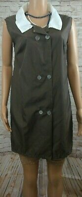 "vintage brown noisy rustly nylon housecoat overalls dress size 10 12 14 38"" bust"