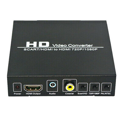 SCART to 1080P HDMI Audio Out Converter Scaler Box & USB Cable HDTV HD Monitor