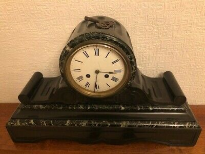 French Marble & Slate Vintage Drumhead Mantle Clock With Key
