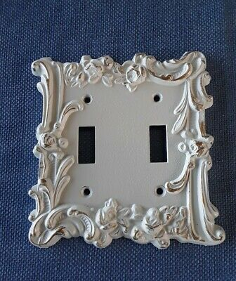 VTG Metal Double Switchplate Cover White w/ Gold Highlights & Roses