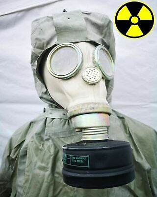 PREPPERS MODERN NBC SUIT + GAS MASK AND SEAL 2x FP5 FILTERS RADIATION PROTECT