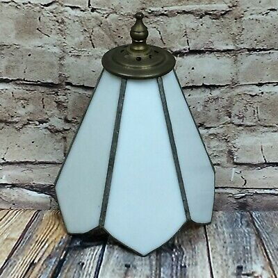 Vintage White Opaque Leaded Stained Glass Light Shade