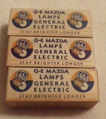 3 Vintage Boxes GE Mazda PR 10 General Electric Lamps Bulbs CG 410-D 10 Pack NOS