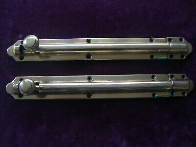Immaculate  Victorian matched pair of large brass security door bolts with keeps