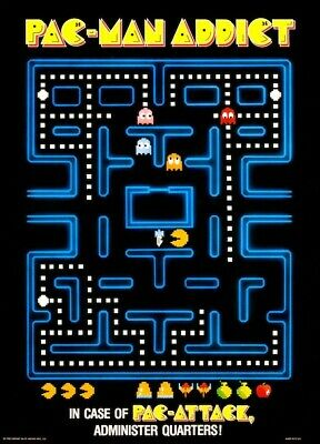 Pac-Man Addict POSTER 1982 Midway Pac-Attack Arcade Video Game Large Rare
