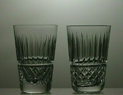 "Waterford Crystal ""Tramore"" Cut Tumblers Set Of 2 - 3 2/3"" Tall"