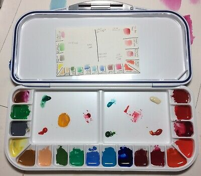 Blue Mijello Fusion Airtight Watercolor Palette 18 Well With Old Holland Paint