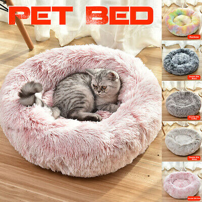 Pet Bed Fluffy Luxe Soft Plush Round Cat Dog Warm Bed Donut Cushion  , ☇