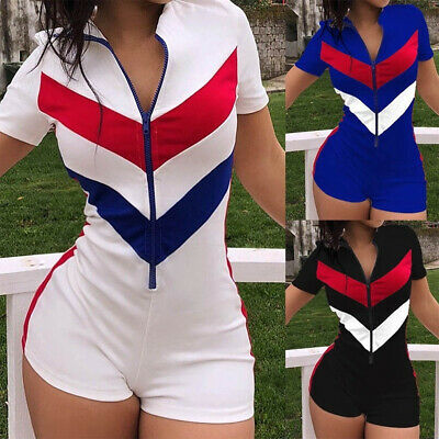 Womens Zipper Shorts Pants Jumpsuit Romper Summer Casual Sporty Playsuit Outfits