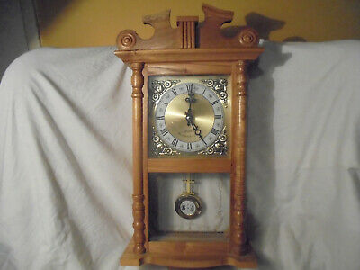 Vintage wooden wall mounted glass fronted pendulum clock