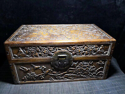 Chinese Qing Dynasty old antique Yellow Boxwood bird wood box Jewelry box EVO