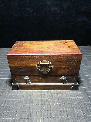 Chinese Qing Dynasty old antique Yellow Boxwood wood box Jewelry box EVO