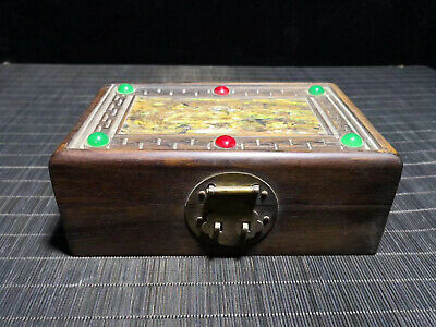 Chinese Qing Dynasty old antique Yellow inlaid shells wood box Jewelry box EVO