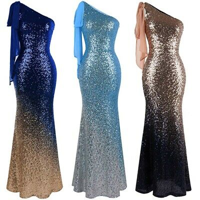 Angel-fashions Evening Dress One Shoulder Bodycon Gradient Sequin Navy Gold  286