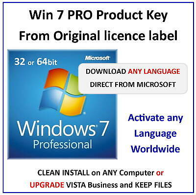 Win 7 PROFESSIONAL 32 or 64bit in ANY LANGUAGE - Download from Microsoft