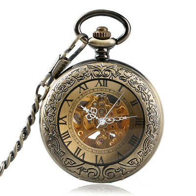 Retro Mechanical Pocket Watch with Chain Double Hunter Vintage Bronze Antique UK