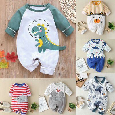 Kids Infant Baby Boys Girls Long Sleeve Cartoon Dinosaur Romper Jumpsuit Clothes