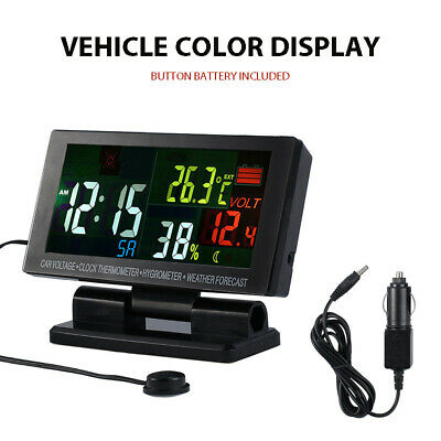 5-in-1 Digital Car Clock Voltage Thermometer Hygrometer Weather Voltmeter LCD US