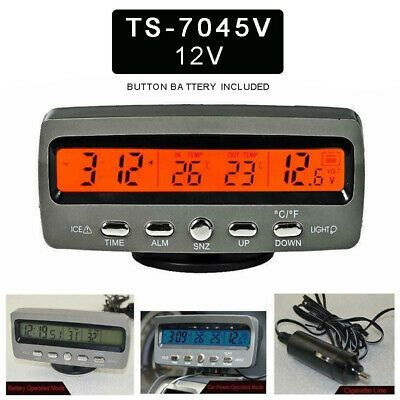 4-In-1 12V Car LED Digital Display Voltmeter Voltage Clock In/Outdoor Thermomete