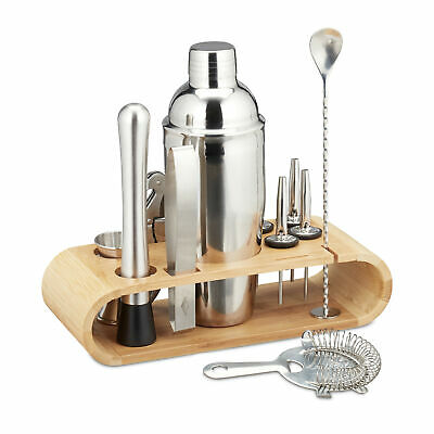 Cocktail Set 11-Piece Stainless Steel Bar Accessories Mixer Shaker Stand Bamboo