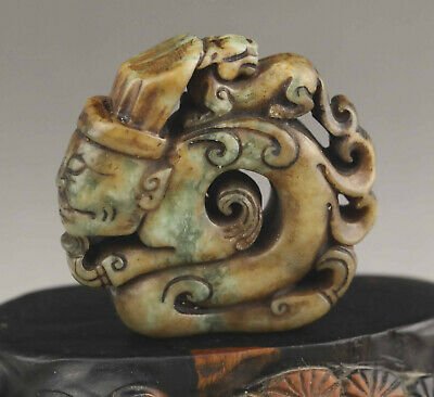 Old Chinese natural jade hand-carved old man and dragon pendant