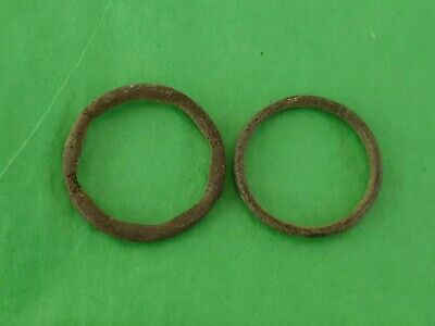 Lovely pair of Celtic bronze money rings. A must read description. L33i
