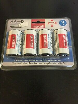 4-Pack D Size Maxell Battery Adapters for AA Batteries